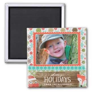 Happy Holidays Fox and Owl Fun Christmas Photo Magnet