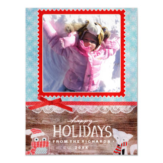 Happy Holidays Fox and Owl Fun Christmas Photo Magnetic Card
