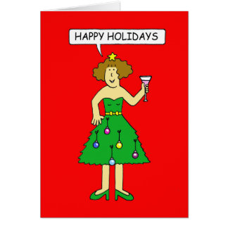 Happy Holidays foxy lady in Christmas tree dress. Greeting Card