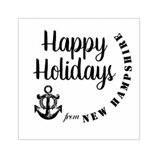 Happy Holidays from New Hampshire with Anchor Rubber Stamp