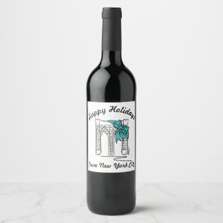 Happy Holidays from New York City Brooklyn Bridge Wine Label