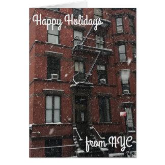 Happy Holidays from NYC Christmas Hanukkah Snow Card