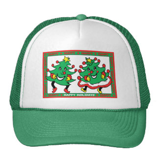 Happy Holidays Funny Dancing Christmas Trees Trucker Hat