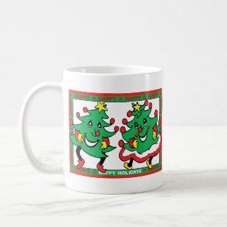 Happy Holidays Funny Dancing Christmas Trees Coffee Mugs