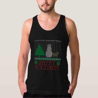 Happy Holidays Funny Dog Peeing Snowman Christmas Tank Top