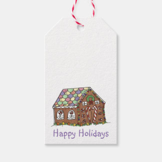 Happy Holidays Gingerbread House Christmas Tags