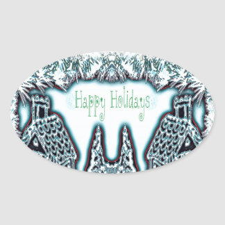 Happy Holidays Gingerbread Houses Oval Sticker