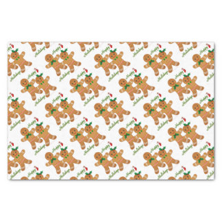 Happy Holidays Gingerbread Man Boy Girl Tissue Paper