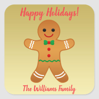 Happy Holidays! | Gingerbread Man Christmas Square Sticker