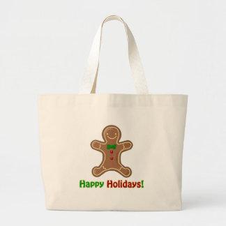 Happy Holidays Gingerbread Man Large Tote Bag
