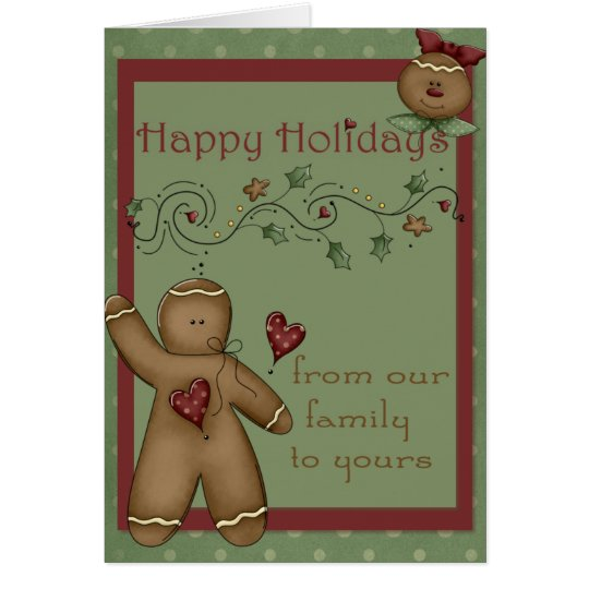 Happy Holidays Gingerbread Men Greeting Card