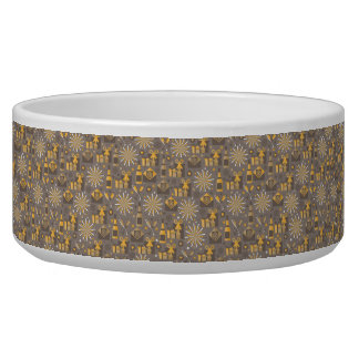 Happy Holidays Gold and Champagne Pattern Dog Water Bowls