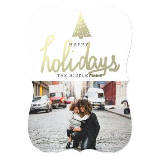 "Happy Holidays Gold Christmas Tree Modern Photo 5"" X 7"" Invitation Card"