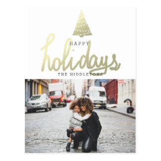 Happy Holidays Gold Christmas Tree Modern Photo Postcard