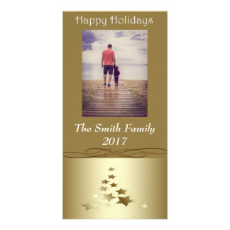 """Happy Holidays"" Gold Christmas Tree on Gold Card"