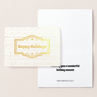 Happy Holidays Gold Foil Card