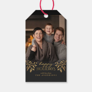 Happy Holidays Gold Foil Christmas Holly Photo Tag Pack Of Gift Tags