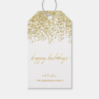 Happy Holidays gold glitter gift tags Pack Of Gift Tags