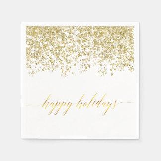 Happy Holidays gold glitter napkins Paper Napkins