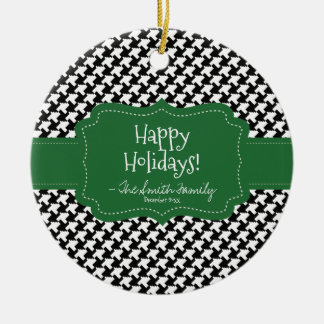 Happy Holidays. Green Badge & Houndstooth Pattern. Round Ceramic Ornament