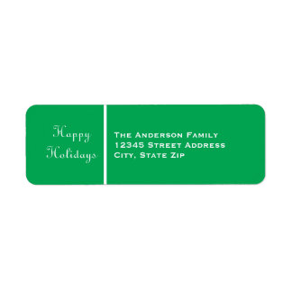 Happy Holidays Green Banner - Address Label