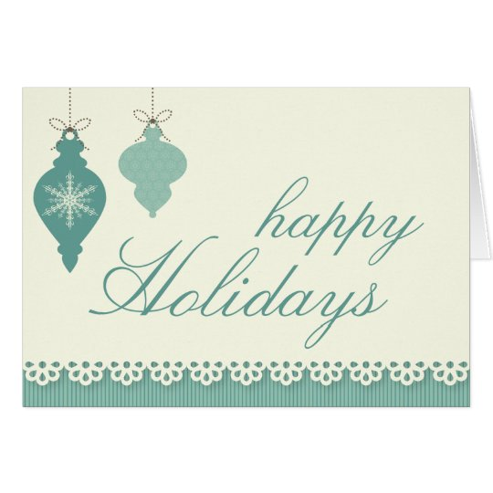 Happy Holidays Greeting Card - Blue Ornaments
