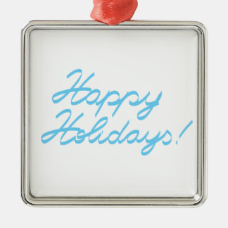 happy holidays  handwriting Silver-Colored square ornament