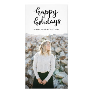 Happy Holidays Handwritten Black Script Minimalist Card