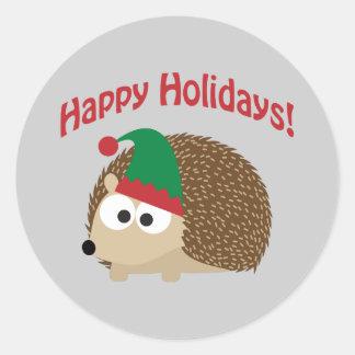 Happy Holidays! Hedgehog Elf Classic Round Sticker