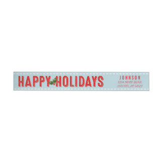 Happy Holidays Holly Berries Aqua Gift Tag Wrap Around Label