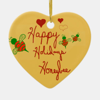 Happy Holidays Honeybee Heart Ornament