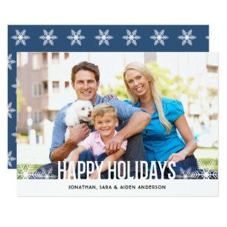 Happy Holidays Horizontal Photo with Snowflake Card