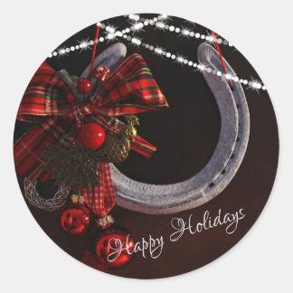 Happy Holidays Horseshoe and Christmas Bow Classic Round Sticker