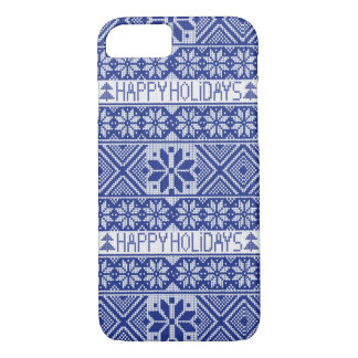 Happy Holidays- knitted snowflake pattern iPhone 7 Case