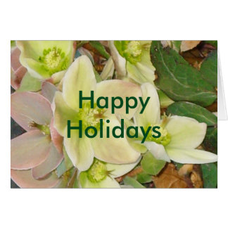 Happy Holidays Lenten Rose Blank Greeting Card