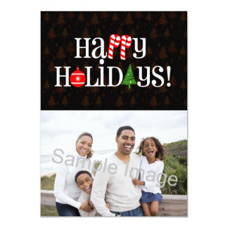 "Happy Holidays Letter Icons Single Photo Card 5"" X 7"" Invitation Card"