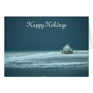 Happy Holidays Lighthouse Card