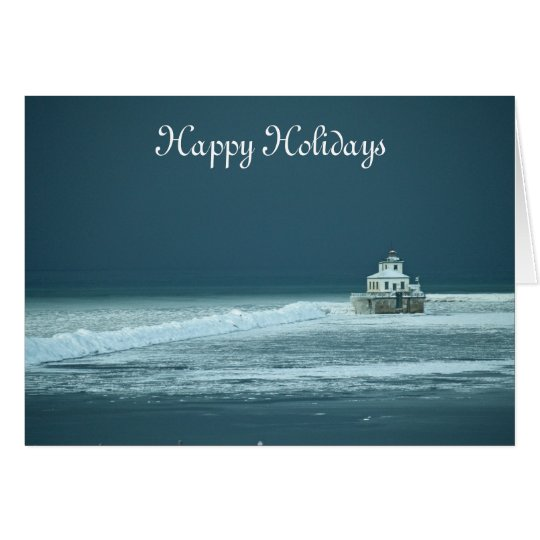 Happy Holidays Lighthouse Card