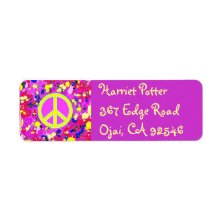 Happy Holidays Love & Peace Sign Hot Abstract Return Address Label