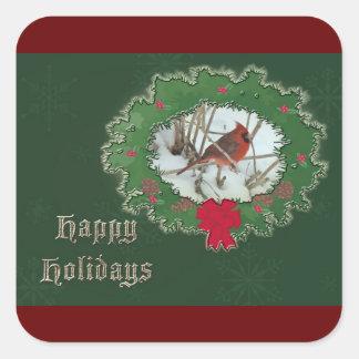 Happy Holidays Male Cardinal Songbird Square Sticker