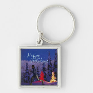 Happy Holidays - Male Runner Silver-Colored Square Keychain