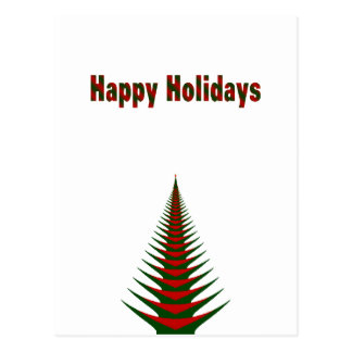 Happy Holidays Merry Christmas red and green Tree Postcard
