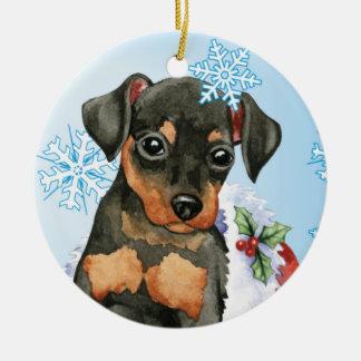Happy Holidays Min Pin Ceramic Ornament