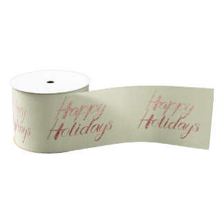 Happy Holidays Mint Delicate Pastel Rose Gold Grosgrain Ribbon