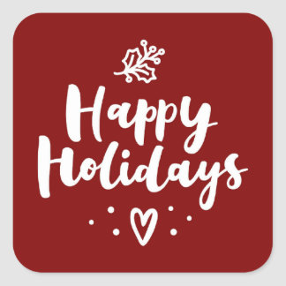 Happy Holidays Mistletoe And Heart Square Sticker