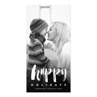 Happy Holidays Modern Brush Christmas Photo Card