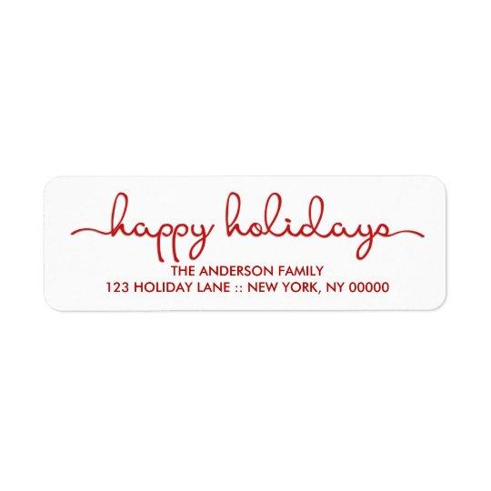 Happy Holidays Modern Hand Lettered Script Label
