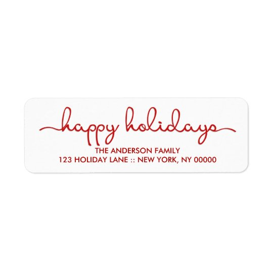 Happy Holidays Modern Hand Lettered Script Label Return Address Label