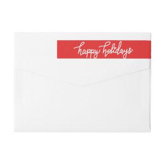 Happy Holidays Modern Handwritten Script Red Wraparound Return Address Label