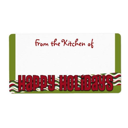 Happy Holidays Modern Kitchen Labels
